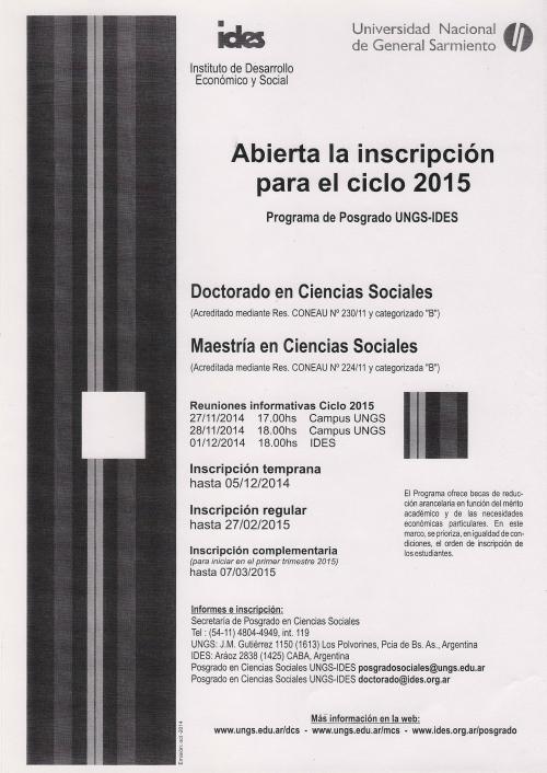 Posgrado Cs. Soc. UNGS-IDES